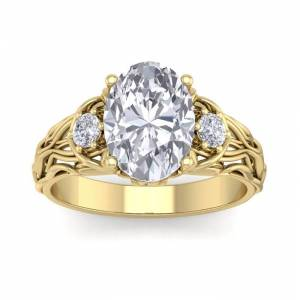 SuperJeweler 3 1/4 Carat Oval Shape Diamond Intricate Vine Engagement Ring in 14K Yellow Gold (5.80 g) (, SI2-I1), Size 4 by SuperJeweler
