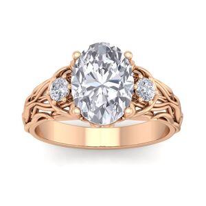 SuperJeweler 3 1/4 Carat Oval Shape Diamond Intricate Vine Engagement Ring in 14K Rose Gold (5.80 g) (, SI2-I1), Size 4 by SuperJeweler