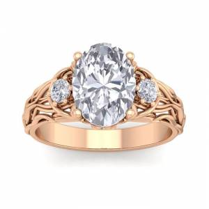 SuperJeweler 3 1/4 Carat Oval Shape Diamond Intricate Vine Engagement Ring in 14K Rose Gold (5.80 g) (, I1-I2 Clarity Enhanced), Size 4 by SuperJeweler