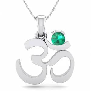 SuperJeweler 1/4 Carat Emerald Om Necklace in 14K White Gold (2.50 g), 18 Inches by SuperJeweler