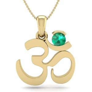 SuperJeweler 1/4 Carat Emerald Om Necklace in 14K Yellow Gold (2.50 g), 18 Inches by SuperJeweler