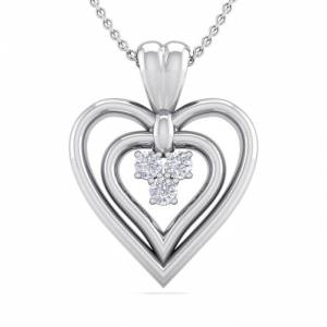 SuperJeweler 0.04 Carat Three Diamond Heart Necklace in 14K White Gold (3 g), 18 Inches,  by SuperJeweler