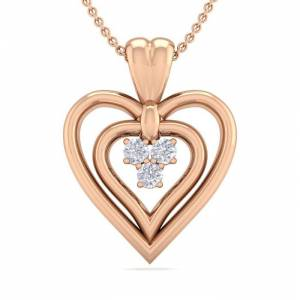 SuperJeweler 0.04 Carat Three Diamond Heart Necklace in 14K Rose Gold (3 g), 18 Inches,  by SuperJeweler