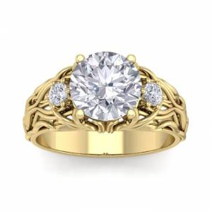 SuperJeweler 3 1/4 Carat Round Shape Diamond Intricate Vine Engagement Ring in 14K Yellow Gold (7 g) (, SI2-I1), Size 4 by SuperJeweler