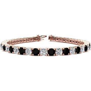 SuperJeweler 11 3/4 Carat Black & White Diamond Men's Tennis Bracelet in 14K Rose Gold (15.4 g), 9 Inches,  by SuperJeweler