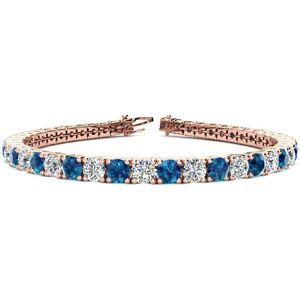 SuperJeweler 10 1/2 Carat Blue & White Diamond Men's Tennis Bracelet in 14K Rose Gold (13.7 g), 8 Inches,  by SuperJeweler