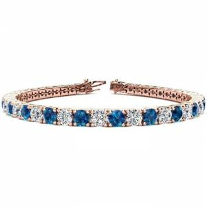 SuperJeweler 11 1/5 Carat Blue & White Diamond Men's Tennis Bracelet in 14K Rose Gold (14.6 g), 8.5 Inches,  by SuperJeweler