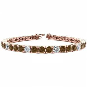SuperJeweler 11 1/5 Carat Chocolate Bar Brown Champagne & White Diamond Alternating Men's Tennis Bracelet in 14K Rose Gold (14.6 g), 8.5 Inches,  by SuperJeweler