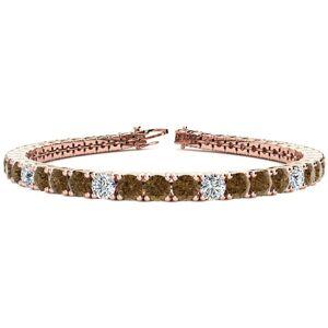 SuperJeweler 11 3/4 Carat Chocolate Bar Brown Champagne & White Diamond Alternating Men's Tennis Bracelet in 14K Rose Gold (15.4 g), 9 Inches,  by SuperJeweler