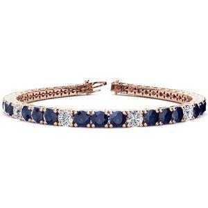 SuperJeweler 12 3/4 Carat Sapphire & Diamond Alternating Men's Tennis Bracelet in 14K Rose Gold (12.9 g), 7.5 Inches,  by SuperJeweler