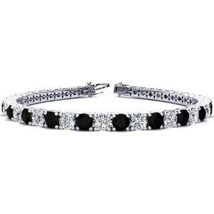 SuperJeweler 10 1/2 Carat Black & White Diamond Men's Tennis Bracelet in 14K White Gold (13.7 g), 8 Inches,  by SuperJeweler