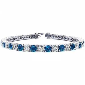 SuperJeweler 11 1/5 Carat Blue & White Diamond Men's Tennis Bracelet in 14K White Gold (14.6 g), 8.5 Inches,  by SuperJeweler