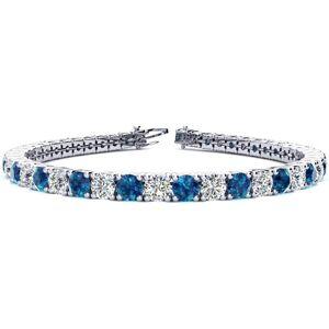 SuperJeweler 11 3/4 Carat Blue & White Diamond Men's Tennis Bracelet in 14K White Gold (15.4 g), 9 Inches,  by SuperJeweler