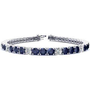 SuperJeweler 15 1/2 Carat Sapphire & Diamond Alternating Men's Tennis Bracelet in 14K White Gold (15.4 g), 9 Inches,  by SuperJeweler