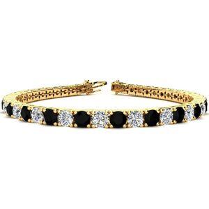 SuperJeweler 10 1/2 Carat Black & White Diamond Men's Tennis Bracelet in 14K Yellow Gold (13.7 g), 8 Inches,  by SuperJeweler