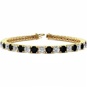 SuperJeweler 11 1/5 Carat Black & White Diamond Men's Tennis Bracelet in 14K Yellow Gold (14.6 g), 8.5 Inches,  by SuperJeweler