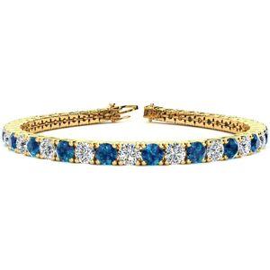 SuperJeweler 10 1/2 Carat Blue & White Diamond Men's Tennis Bracelet in 14K Yellow Gold (13.7 g), 8 Inches,  by SuperJeweler