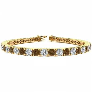 SuperJeweler 10 1/2 Carat Chocolate Bar Brown Champagne & White Diamond Men's Tennis Bracelet in 14K Yellow Gold (13.7 g), 8 Inches,  by SuperJeweler