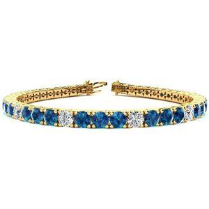 SuperJeweler 11 1/5 Carat Blue & White Diamond Alternating Men's Tennis Bracelet in 14K Yellow Gold (14.6 g), 8.5 Inches,  by SuperJeweler