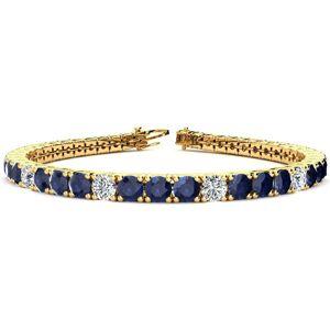 SuperJeweler 15 1/2 Carat Sapphire & Diamond Alternating Men's Tennis Bracelet in 14K Yellow Gold (15.4 g), 9 Inches,  by SuperJeweler