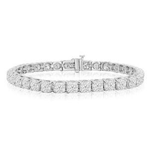 SuperJeweler 9 3/4 Carat Diamond Men's Tennis Bracelet in 14K White Gold (16.6 g), 7.5 Inches,  by SuperJeweler