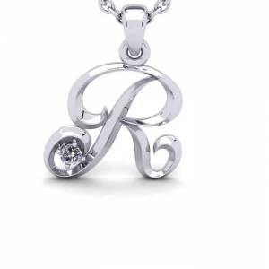 SuperJeweler .40 Carat Diamond 2x Normal Size --R-- Swirly Initial Necklace in 14K White Gold (2 g) w/ Free 18 Inch Cable Chain,  by SuperJeweler