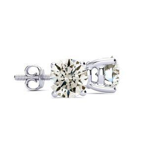 SuperJeweler 6 Carat Round Diamond Stud Earrings in 14K White Gold (2 Grams) ( Color, SI1/SI2 Clarity) by SuperJeweler