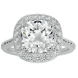 SuperJeweler 5 1/2 Carat Cushion Cut Halo Diamond Engagement Ring in 14K White Gold (5.70 g) (, I1-I2 Clarity Enhanced), Size 4 by SuperJeweler