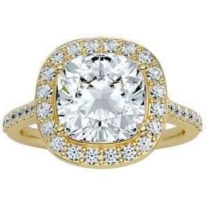 SuperJeweler 5 1/2 Carat Cushion Cut Halo Diamond Engagement Ring in 14K yellow Gold (5.70 g) (, I1-I2 Clarity Enhanced), Size 4 by SuperJeweler