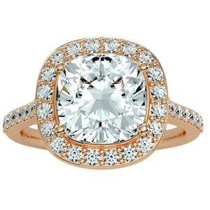 SuperJeweler 5 1/2 Carat Cushion Cut Halo Diamond Engagement Ring in 14K rose Gold (5.70 g) (, I1-I2 Clarity Enhanced), Size 4 by SuperJeweler
