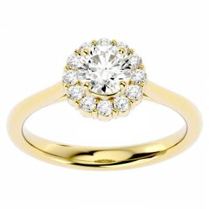 SuperJeweler 1 Carat Halo Diamond Engagement Ring in 14K Yellow Gold (3.80 g) (, SI2-I1), Size 4 by SuperJeweler