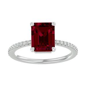 SuperJeweler 3 Carat Ruby & 22 Diamond Ring in 14K White Gold (2.6 g), , Size 4 by SuperJeweler