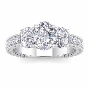 SuperJeweler 2.5 Carat Moissanite Oval Shape Three Stone Engagement Ring in 14K White Gold (4.60 g), E/F Color, Size 4 by SuperJeweler