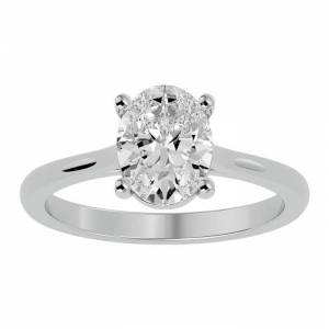 SuperJeweler 2 Carat Oval Shape Moissanite Solitaire Engagement Ring in 14K White Gold (2 g), E/F Color, Size 4 by SuperJeweler