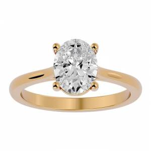 SuperJeweler 2 Carat Oval Shape Moissanite Solitaire Engagement Ring in 14K Yellow Gold (2 g), E/F Color, Size 4 by SuperJeweler