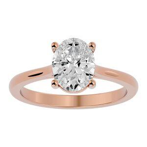 SuperJeweler 2 Carat Oval Shape Moissanite Solitaire Engagement Ring in 14K Rose Gold (2 g), E/F Color, Size 4 by SuperJeweler
