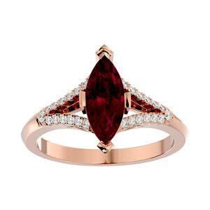 SuperJeweler 2.5 Carat Marquise Shape Ruby & 26 Diamond Ring in 14K Rose Gold (4.10 g), , Size 4 by SuperJeweler