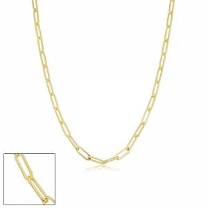 SuperJeweler 2.5mm Paperclip Chain Necklace, 18 Inches, Yellow Gold (3.65 g) by SuperJeweler