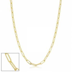 SuperJeweler 2.5mm Paperclip Chain Necklace, 30 Inches, Yellow Gold (5.85 g) by SuperJeweler