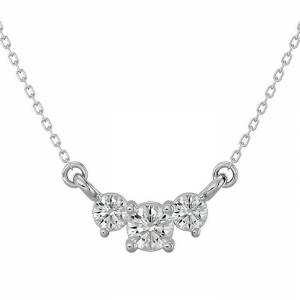 SuperJeweler 1/4 Carat Moissanite Three Stone Necklace in 14K White Gold (1.50 g), 18 Inches, E/F Color by SuperJeweler