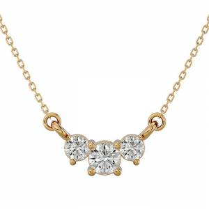 SuperJeweler 1/4 Carat Moissanite Three Stone Necklace in 14K Yellow Gold (1.50 g), 18 Inches, E/F Color by SuperJeweler