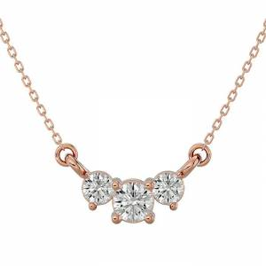 SuperJeweler 1/4 Carat Moissanite Three Stone Necklace in 14K Rose Gold (1.50 g), 18 Inches, E/F Color by SuperJeweler