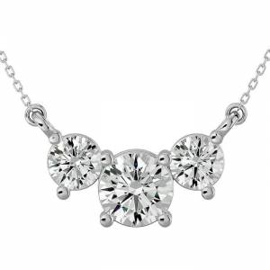 SuperJeweler 1.25 Carat Moissanite Three Stone Necklace in 14K White Gold (2.50 g), 18 Inches, E/F Color by SuperJeweler