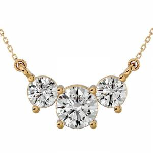 SuperJeweler 1.25 Carat Moissanite Three Stone Necklace in 14K Yellow Gold (2.50 g), 18 Inches, E/F Color by SuperJeweler