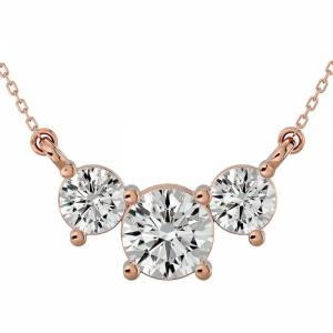 SuperJeweler 1.25 Carat Moissanite Three Stone Necklace in 14K Rose Gold (2.50 g), 18 Inches, E/F Color by SuperJeweler