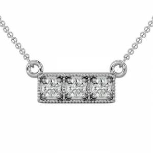 SuperJeweler 1/4 Carat Diamond Three Stone Necklace in White Gold (2.50 g), 18 Inches (, I1-I2) by SuperJeweler