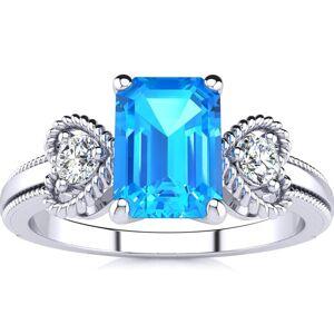 SuperJeweler 1 1/3 Carat Blue Topaz & Two Diamond Heart Ring in 1.4 Karat White Gold (2.8 g)™, , Size 4 by SuperJeweler