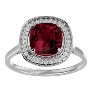 SuperJeweler 3 1/4 Carat Cushion Cut Garnet & Halo 32 Diamond Ring in 14K White Gold (4.80 g), , Size 4 by SuperJeweler