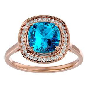 SuperJeweler 2 3/4 Carat Cushion Cut Blue Topaz & Halo 32 Diamond Ring in 14K Rose Gold (4.80 g), , Size 4 by SuperJeweler