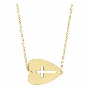 SuperJeweler Sideways Cross Necklace in Heart in 14K Yellow Gold (2.55 g), 18 Inches by SuperJeweler